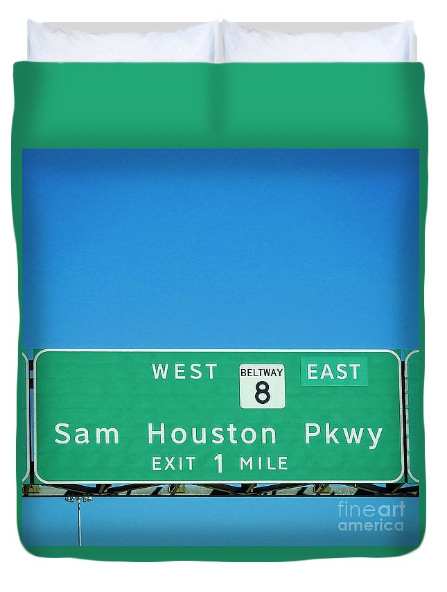Houston Duvet Cover featuring the photograph Sam Houston Pkway by Ella Kaye Dickey