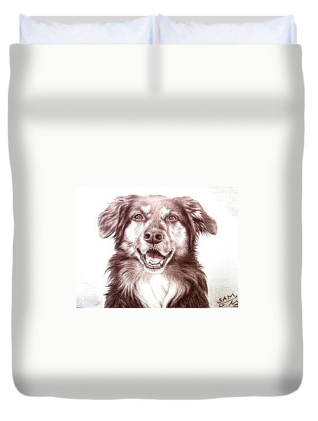 Dog Duvet Cover featuring the drawing Sam by Nicole Zeug