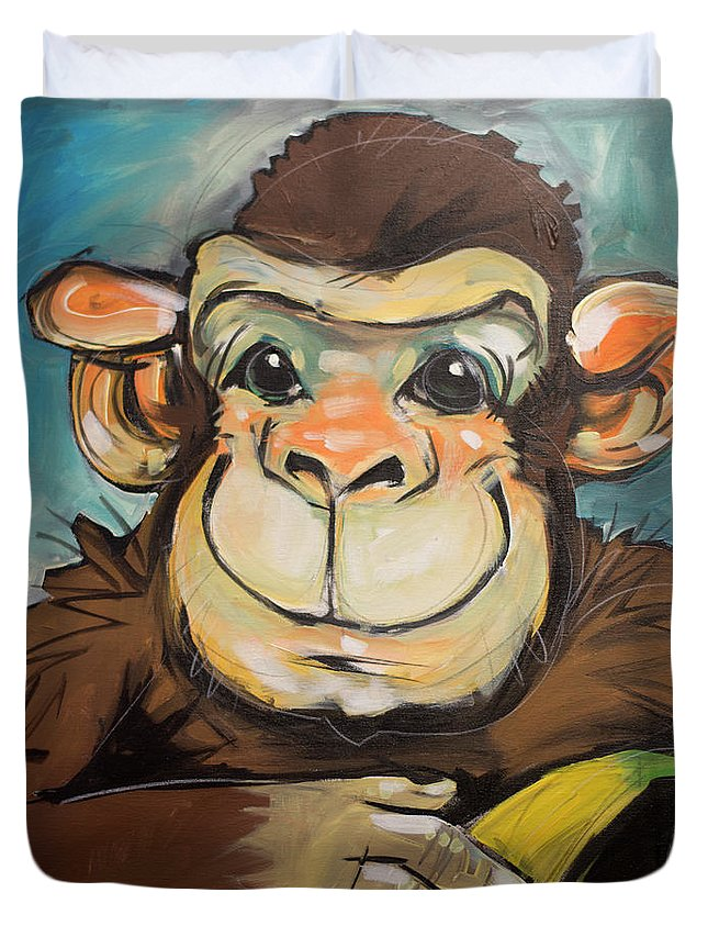 Monkey Duvet Cover featuring the painting Sam The Monkey by Tim Nyberg