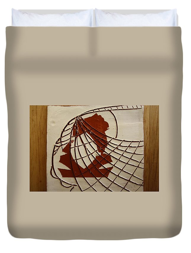 Jesus Duvet Cover featuring the ceramic art Samantha - Tile by Gloria Ssali