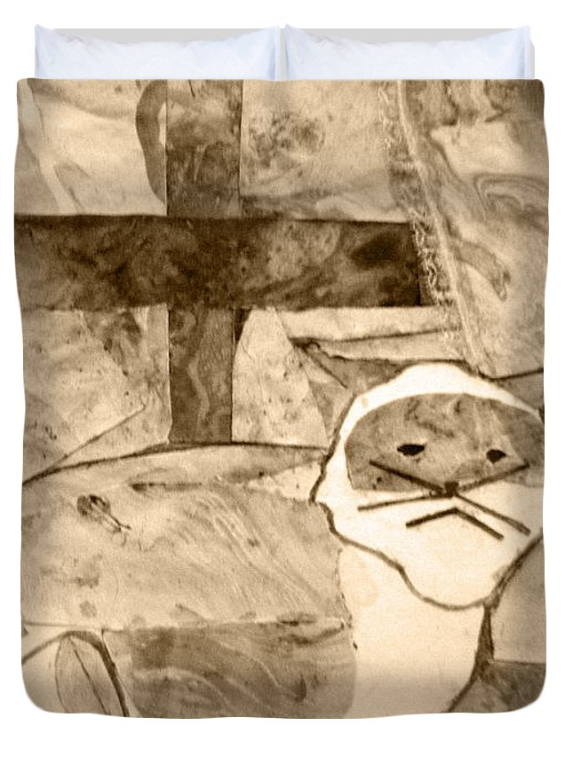 Abstract Duvet Cover featuring the mixed media Samantha by April Patterson