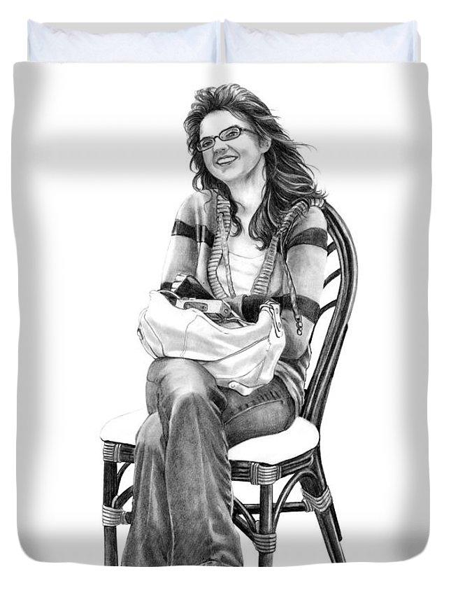 Figure Drawing Duvet Cover featuring the drawing Samantha Jonice Elliott by Murphy Elliott