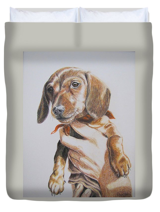 Puppy Duvet Cover featuring the drawing Sambo by Karen Ilari