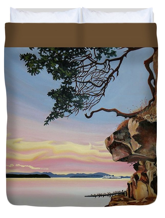 Rocks Duvet Cover featuring the painting Same Time Same Place by Elissa Anthony