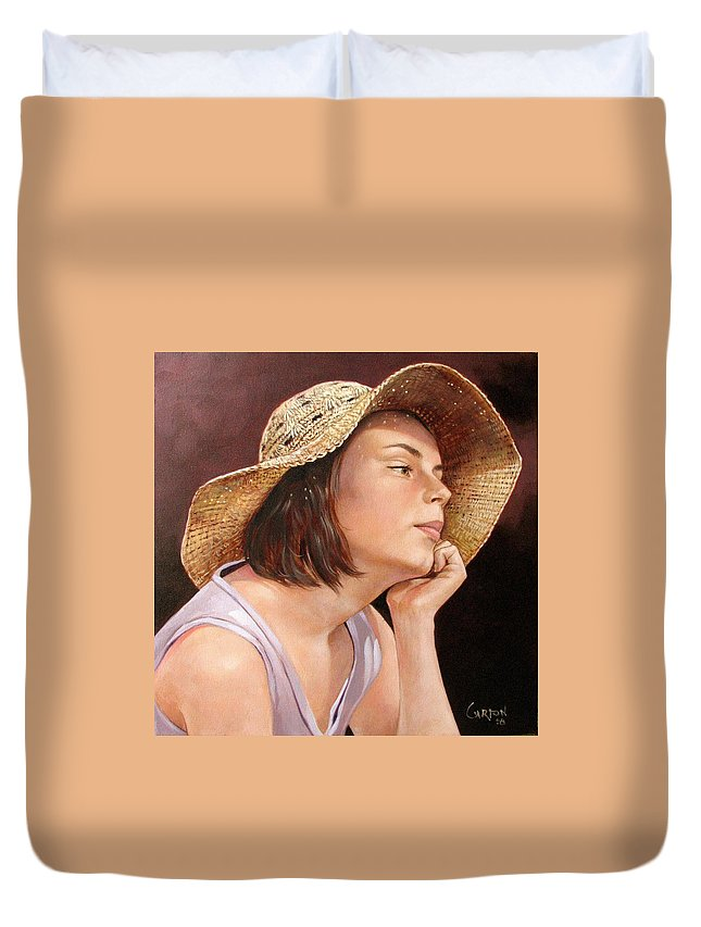Portrait Duvet Cover featuring the painting Sammie by Jerrold Carton