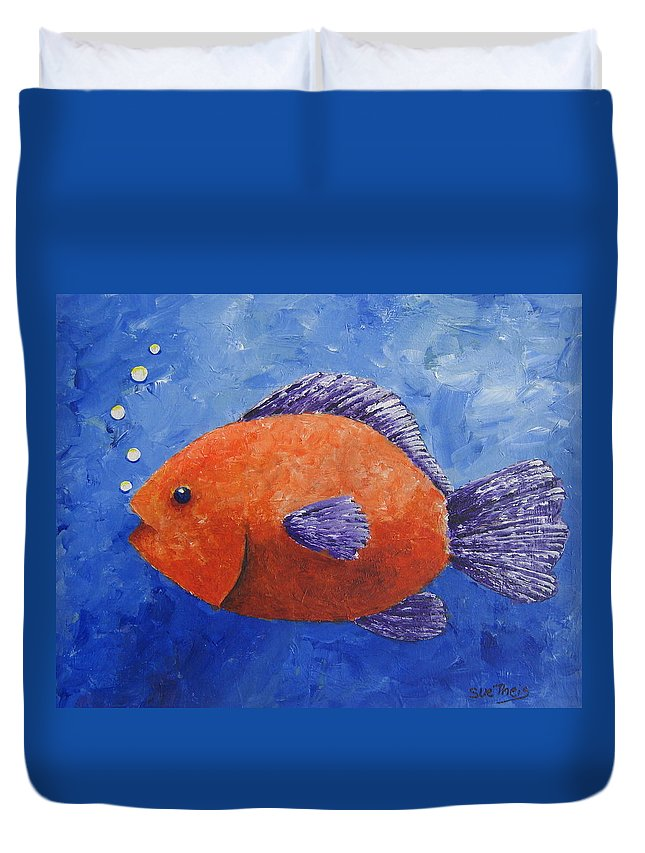 Fish Duvet Cover featuring the painting Sammy by Suzanne Theis