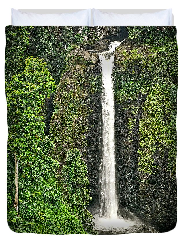 Duvet Cover featuring the photograph Samoan Falls 2 by Paki O'Meara