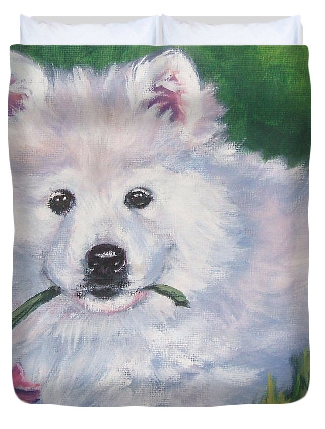 Samoyed Duvet Cover featuring the painting Samoyed Pup With Peony by Lee Ann Shepard