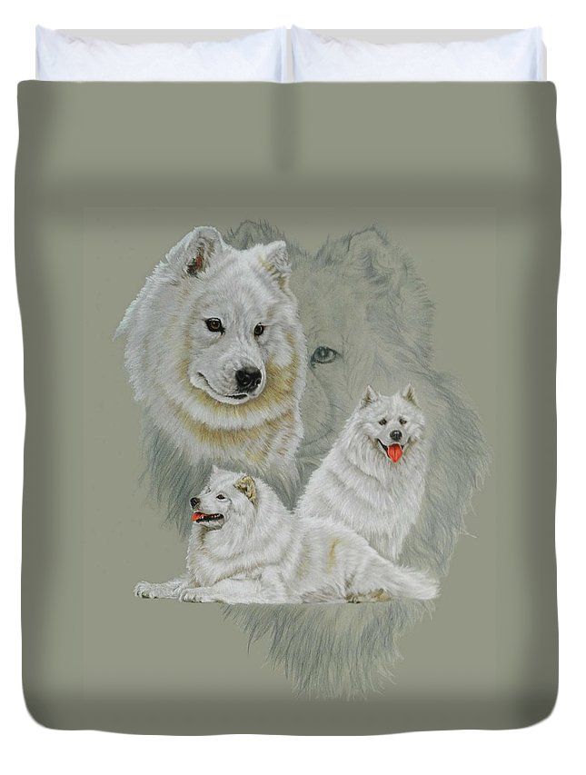 Working Group Duvet Cover featuring the mixed media Samoyed Revamp by Barbara Keith