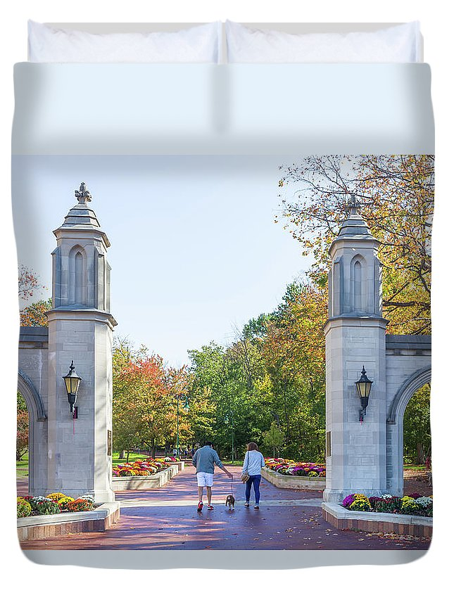 Architecture Duvet Cover featuring the photograph Sample Gates At University Of Indiana by Ken Wolter