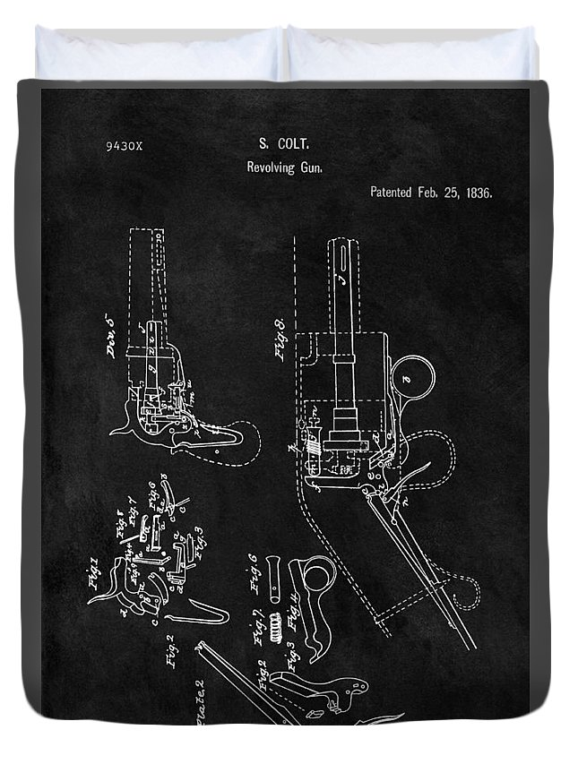 1836 Colt Revolver Patent Duvet Cover featuring the drawing Samuel Colt 1836 Revolver Patent by Dan Sproul