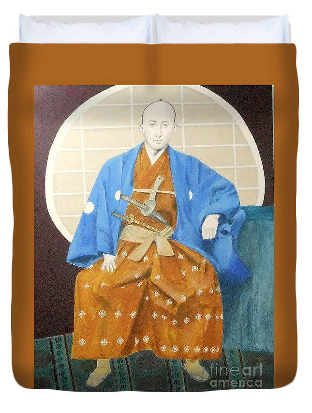 Samurai Duvet Cover featuring the painting Samurai-san -- Portrait Of Japanese Warrior by Jayne Somogy