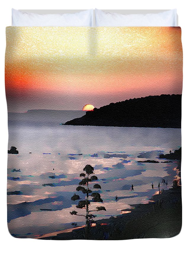 Sunset Duvet Cover featuring the photograph San Adeodato Sunset II by Dee Flouton