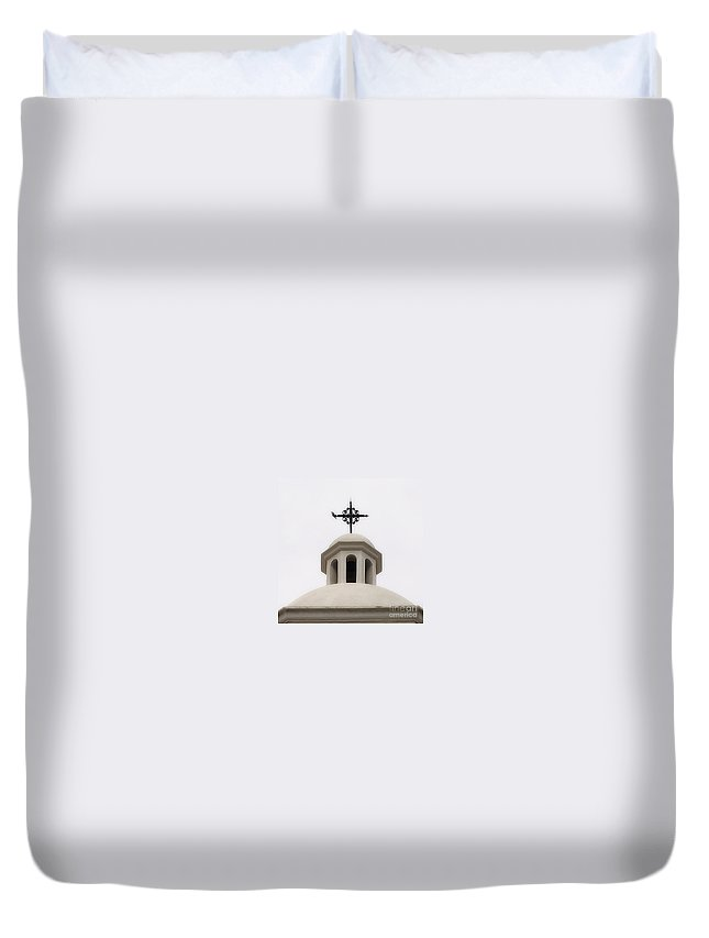 Church Duvet Cover featuring the photograph San Agustin by Linda Shafer