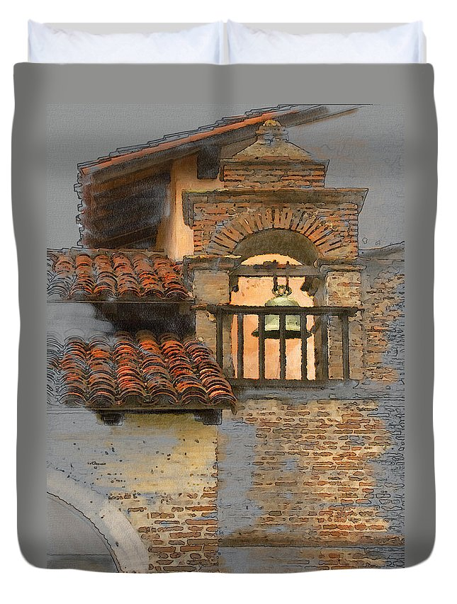Architecture Duvet Cover featuring the photograph San Antonio Bell by Sharon Foster