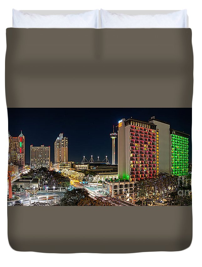 San Antonio Duvet Cover featuring the photograph San Antonio Skyline At Christmas by Tod and Cynthia Grubbs