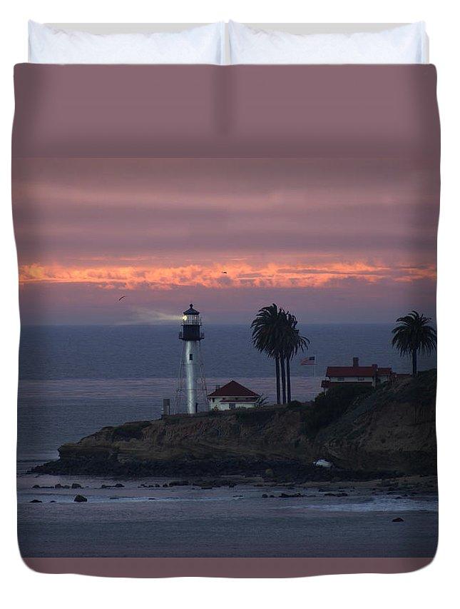 San Deigo Duvet Cover featuring the photograph San Diego Lighthouse by Heather Coen