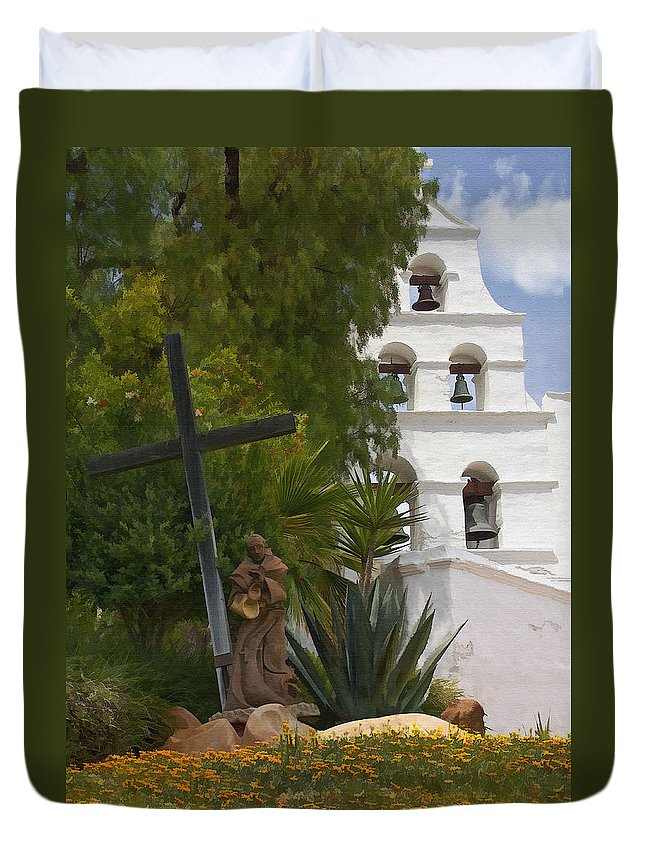 Mission Duvet Cover featuring the digital art San Diego Mission Bells by Sharon Foster