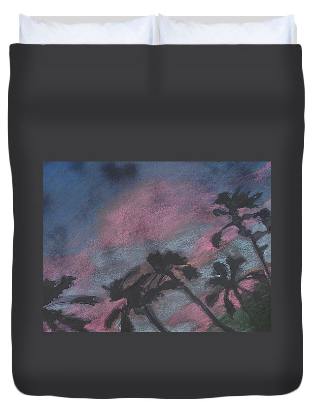 Contemporary Tree Landscapes Duvet Cover featuring the drawing San Diego palms by Leah Tomaino