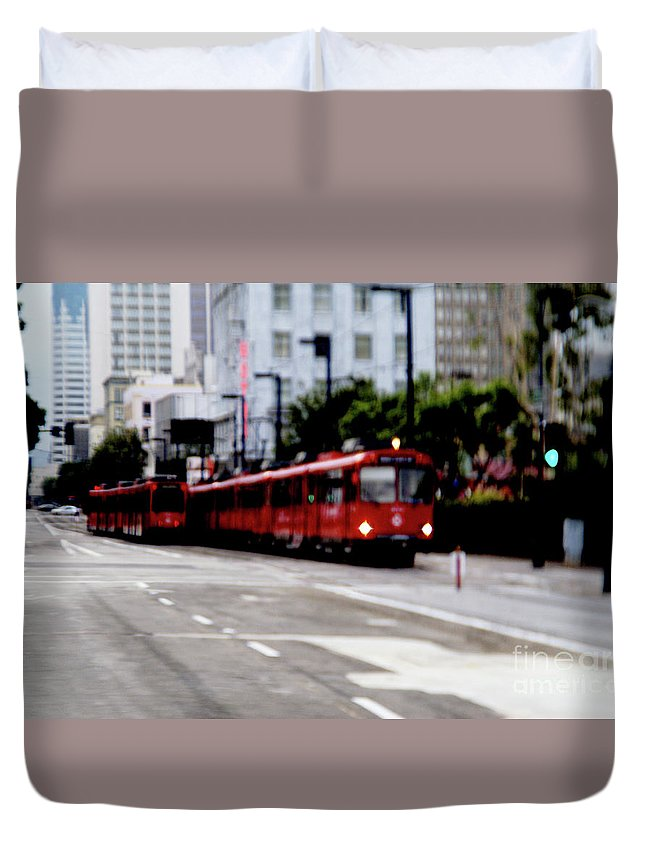 Red Trolley Duvet Cover featuring the photograph San Diego Red Trolley by Linda Shafer