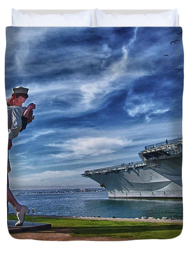 Sailor Duvet Cover featuring the photograph San Diego Sailor by Chris Lord