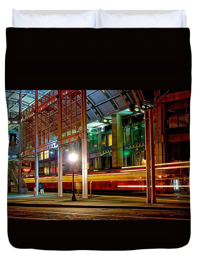 Building Duvet Cover featuring the photograph San Diego Trolley Station by Donald Pash
