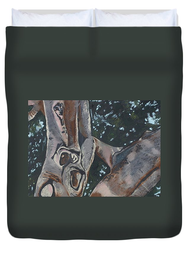 Contemporary Tree Duvet Cover featuring the drawing San Diego Zoo by Leah Tomaino