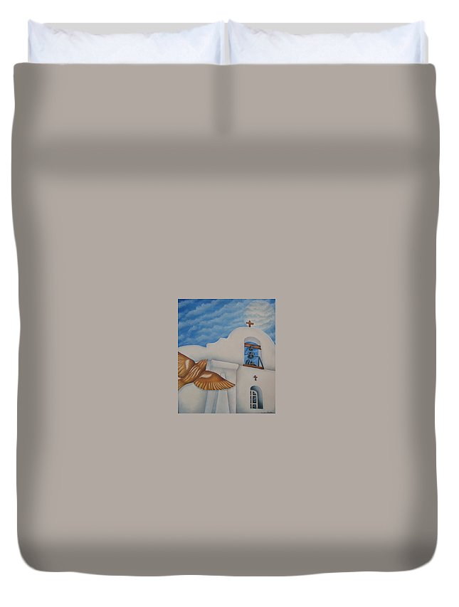 Sparrow Duvet Cover featuring the painting San Elizario On A Moonlit Morning by Jeniffer Stapher-Thomas