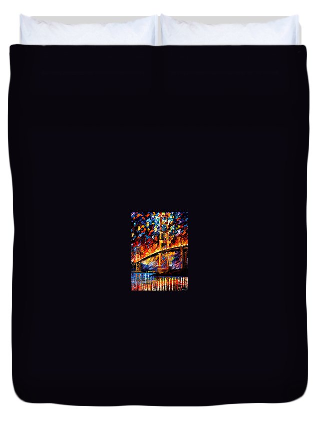 Afremov Duvet Cover featuring the painting San Francisco - Golden Gate by Leonid Afremov