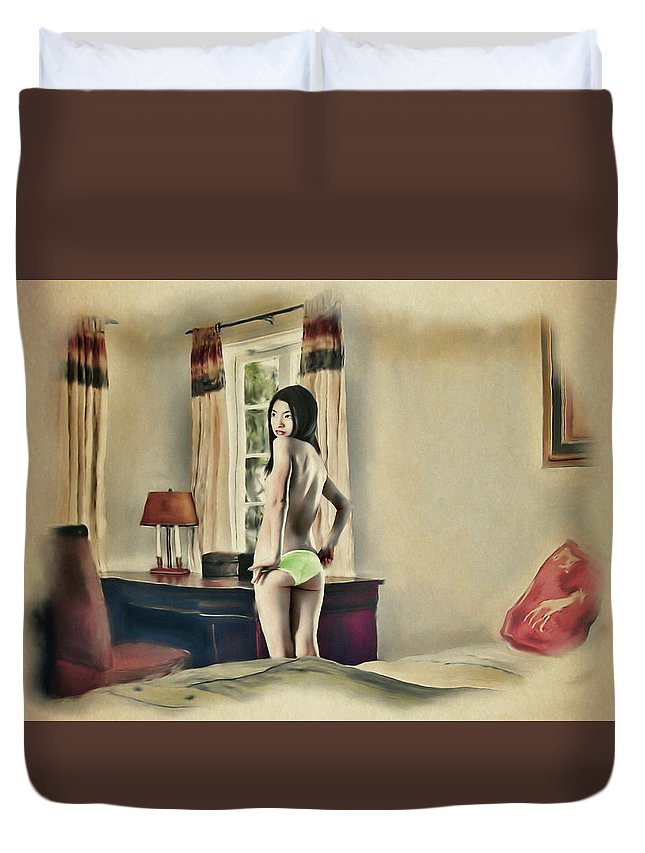 Salome Duvet Cover featuring the painting San Francisco - Asian American Series by Salome Hooper