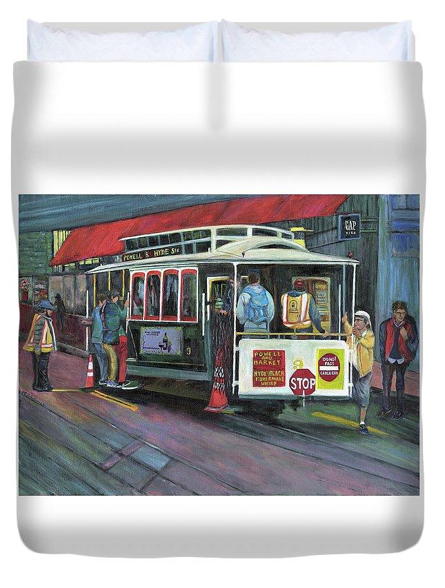 Cable Car In San Francisco Duvet Cover featuring the painting San Francisco Cable Car by Marcelle Schvimmer