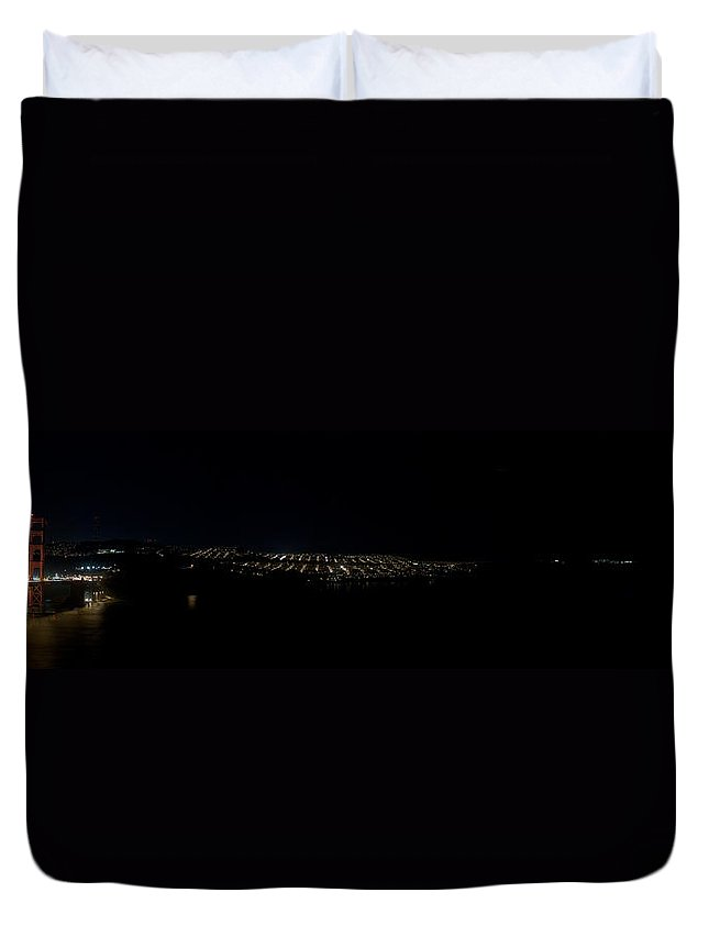 San Francisco Duvet Cover featuring the photograph San Francisco Golden Gate At Night by Grant Groberg