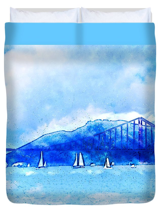 San Francisco Harbor Duvet Cover featuring the painting San Francisco Harbor by Methune Hively