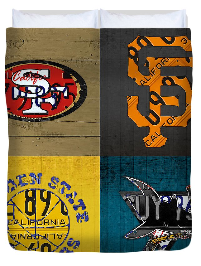 San Francisco Duvet Cover featuring the mixed media San Francisco Sports Fan Recycled Vintage California License Plate Art 49ers Giants Warriors Sharks by Design Turnpike