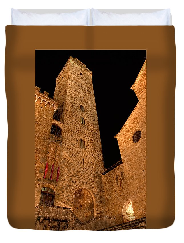 Italy Duvet Cover featuring the photograph San Gimignano by Colette Panaioti