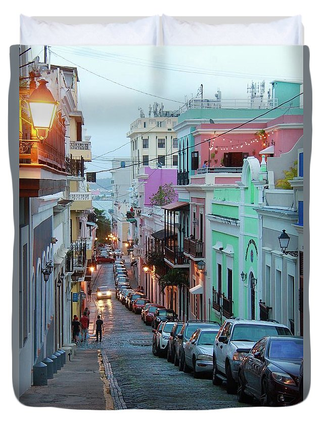 Old San Juan Duvet Cover featuring the photograph San Juan Evening Glow by Suzanne Oesterling