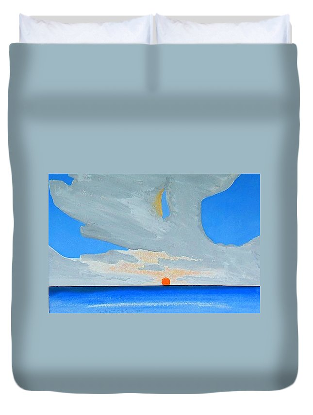 Sunrise Seascape Duvet Cover featuring the painting San Juan Sunrise by Dick Sauer