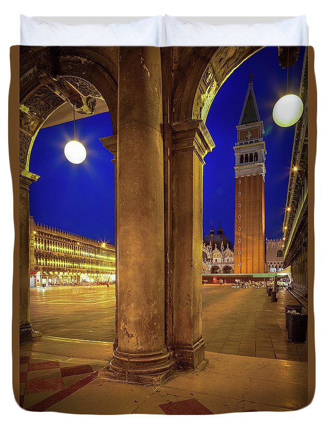 Europe Duvet Cover featuring the photograph San Marco At Night by Inge Johnsson