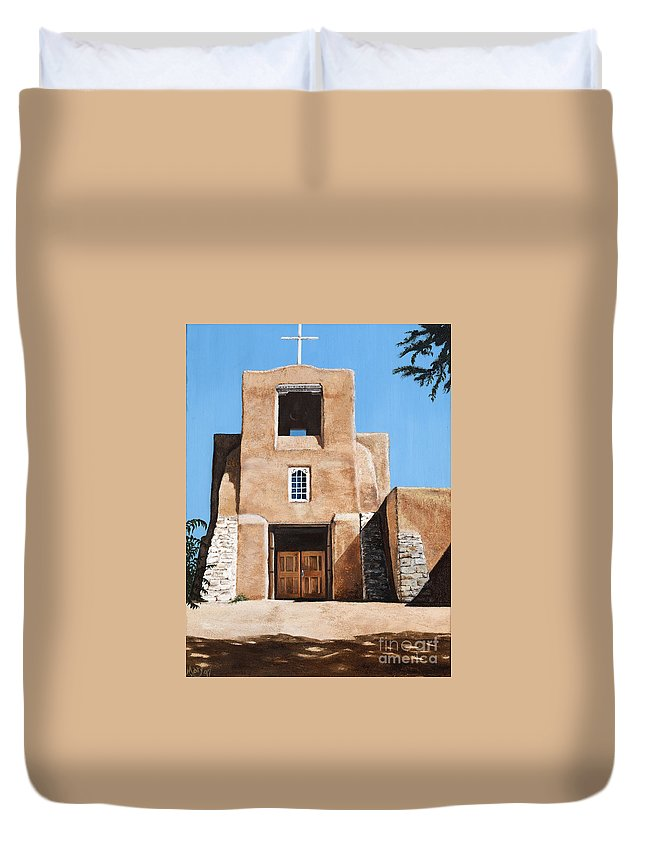 Art Duvet Cover featuring the painting San Miguel by Mary Rogers