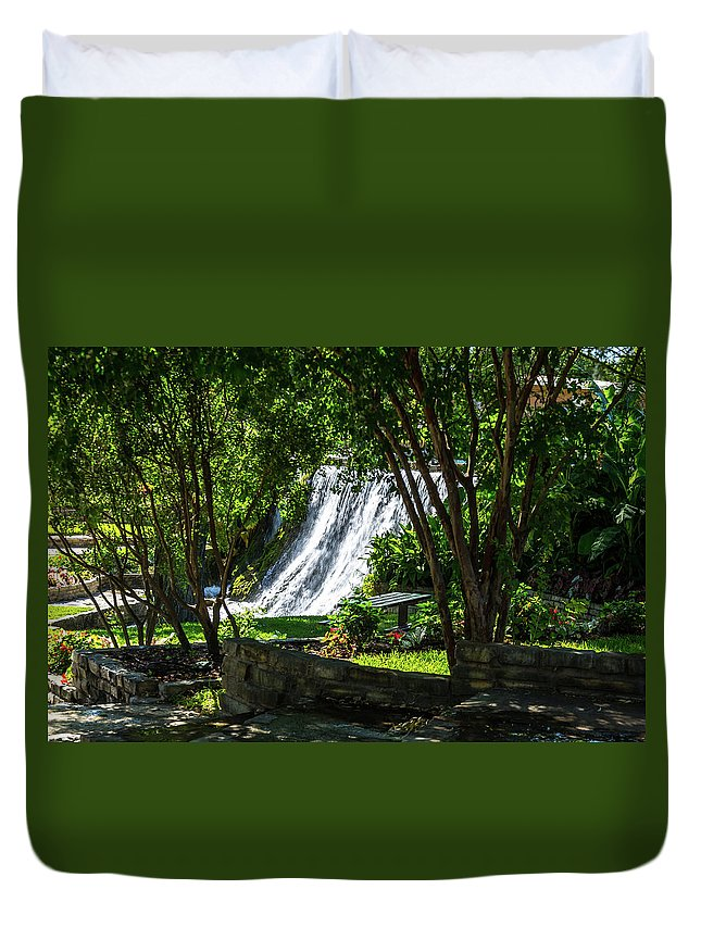 Waterfall Duvet Cover featuring the photograph San Saba Waterfall by Bob Marquis