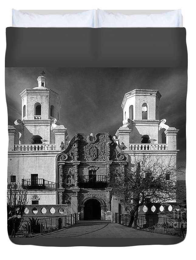 B&w Duvet Cover featuring the photograph San Xavier Del Bac Mission by Sandra Bronstein