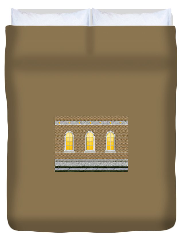 Church Duvet Cover featuring the painting Sanctuary Windows And Walls by Anne Norskog