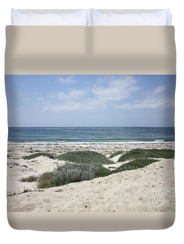 Sandy Beach Duvet Cover featuring the photograph Sand And Sea by Carol Groenen