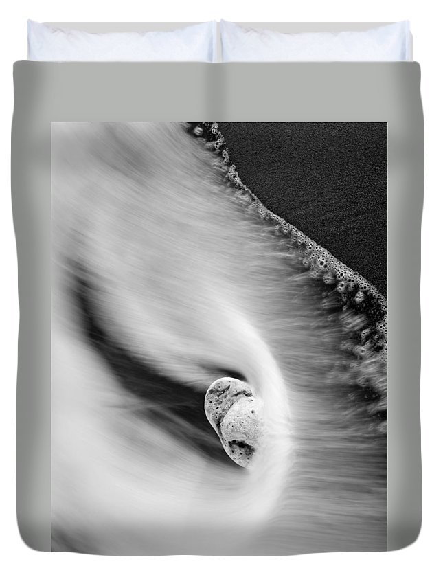 Rock Duvet Cover featuring the photograph Sand And Sea by Mike Dawson