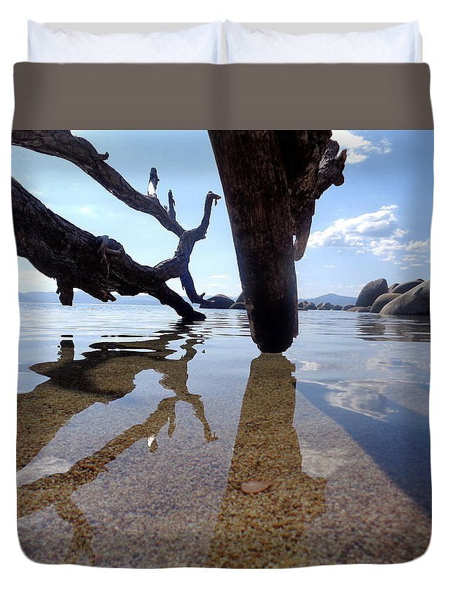 Lake Tahoe Duvet Cover featuring the photograph Sand And Shadows by Kristina Lammers
