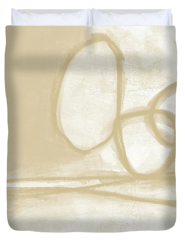 Abstract Duvet Cover featuring the painting Sand And Stone 6- Contemporary Abstract Art By Linda Woods by Linda Woods