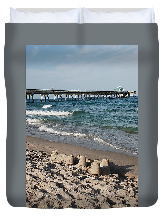 Sea Scape Duvet Cover featuring the photograph Sand Castles And Piers by Rob Hans