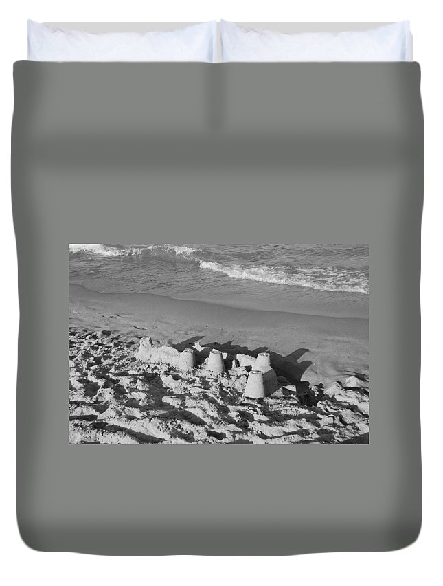 Sea Scape Duvet Cover featuring the photograph Sand Castles By The Shore by Rob Hans