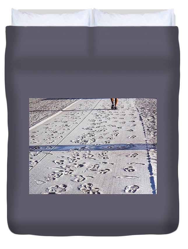 Walking Duvet Cover featuring the photograph Sand Dance by Robin Zygelman