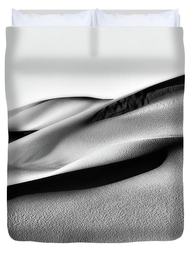 Sand Dunes Duvet Cover featuring the photograph Sand Dunes Black And White by Robert Hayton